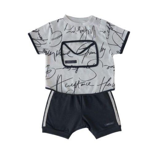 Conjunto Bebê Masculino Camiseta com Bermuda Palavras Green By Missako