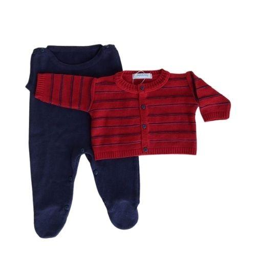 Conjunto Bebê Tricô Masculino com Jardineira e Casaco Vermelho