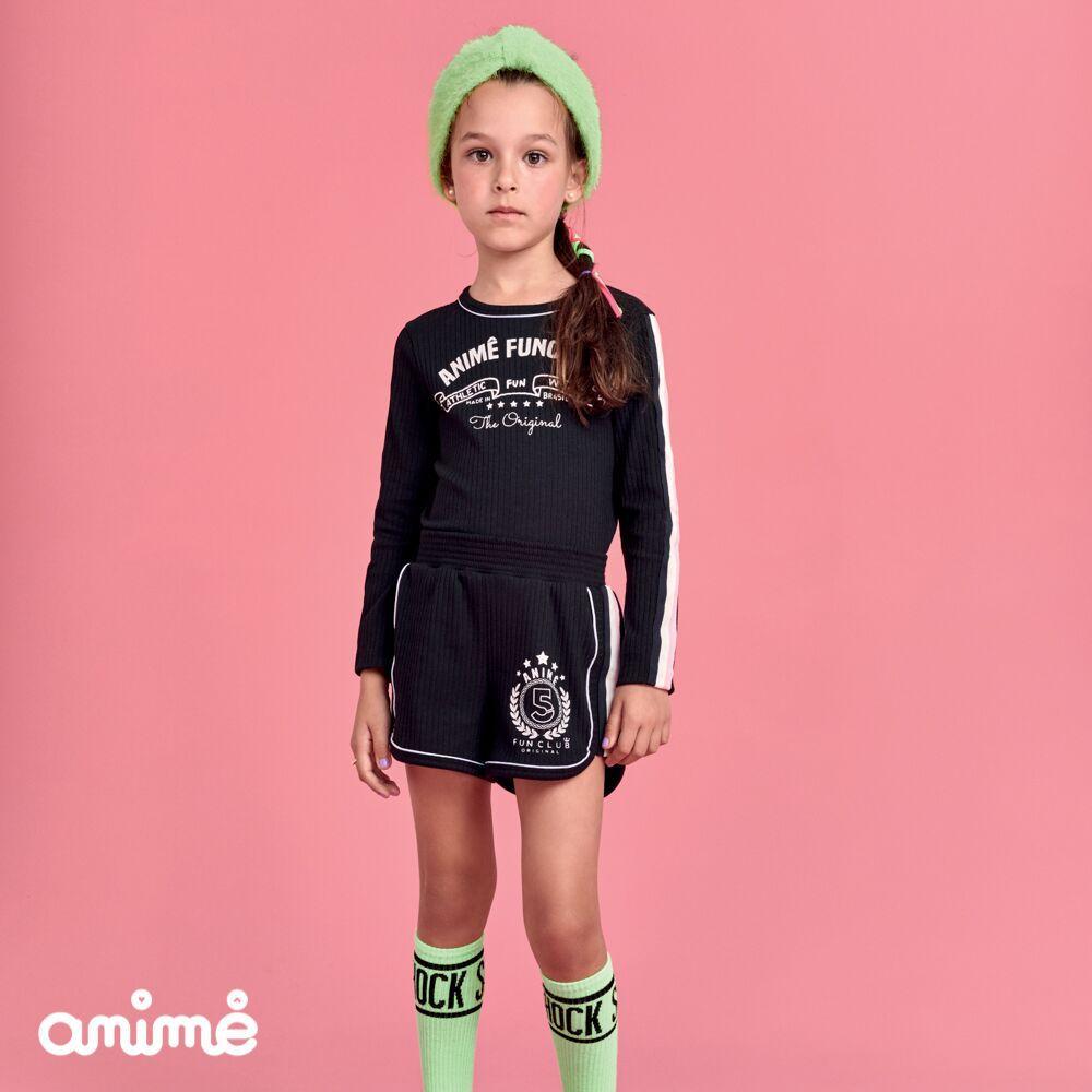 Conjunto Feminino Infantil Blusa e Shorts Animê Fun Club