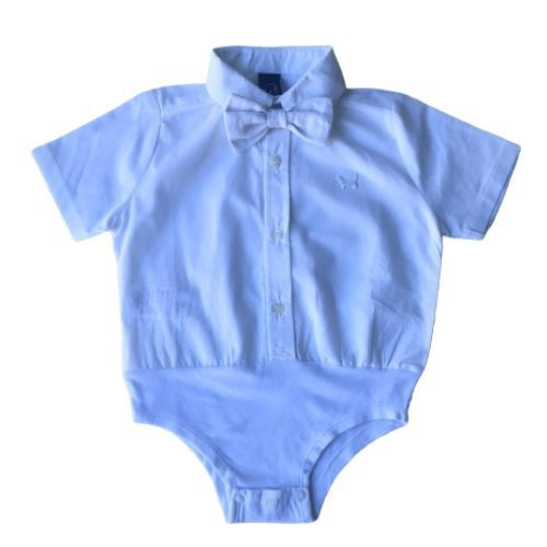 Conjunto Masculino Bebê Body Camisa com Gravata e Bermuda 1+1