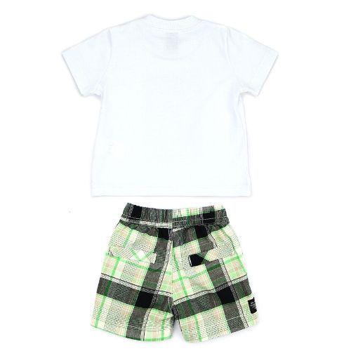 Conjunto Masculino Infantil Camiseta Cachorro com Short Xadrez