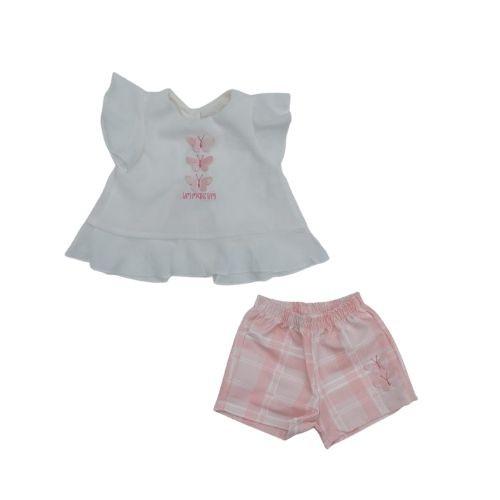 Conjunto Feminino Infantil Bata Borboletas Short Xadrez