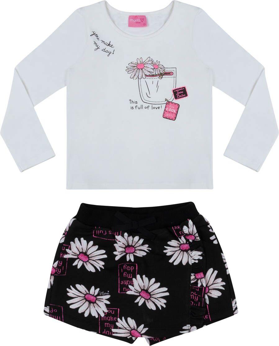 Conjunto Feminino Infantil Blusa Bolso com Flores e Shorts Saia Margaridas