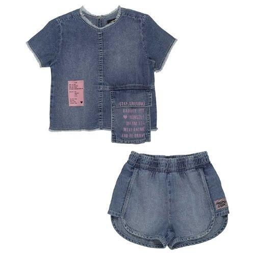 Conjunto Feminino Infantil Blusa com Bolso e Short Jeans