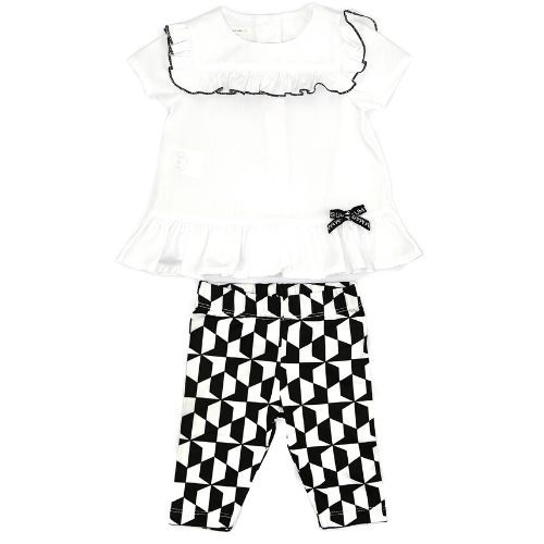 Conjunto Feminino Infantil Bata Branca com Legging Geométrica