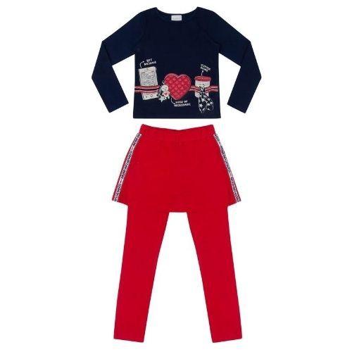 Conjunto Feminino Infantil Blusa Azul Marinho com Legging Saia