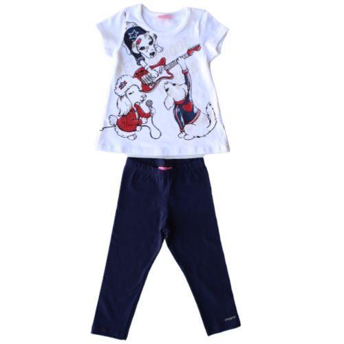Conjunto Feminino Infantil Blusa Banda de Cachorrinhas com Legging Marinho