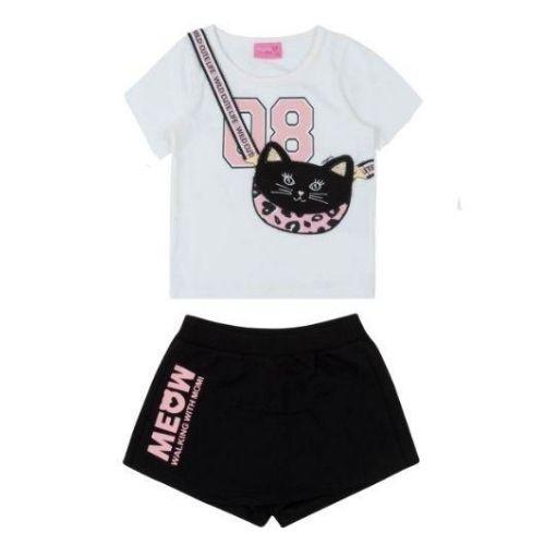 Conjunto Feminino Infantil Blusa Bolsa de Gatinha com Shorts Saia