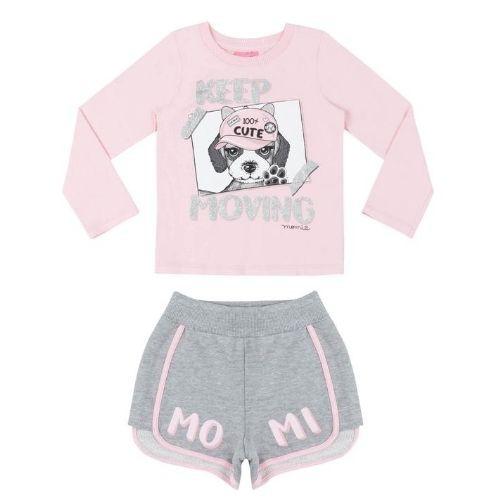 Conjunto Feminino Infantil Blusa Cachorrinha com Shorts Cinza