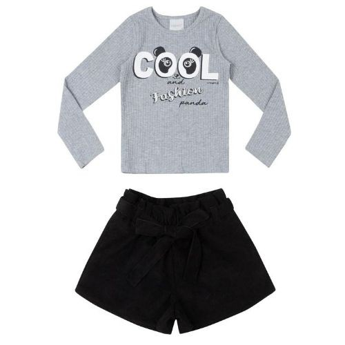 Conjunto Feminino Infantil Blusa Canelada Panda com  Shorts Preto