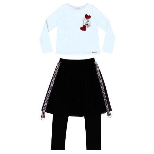 Conjunto Feminino Infantil Blusa Coração com Legging Saia Tule