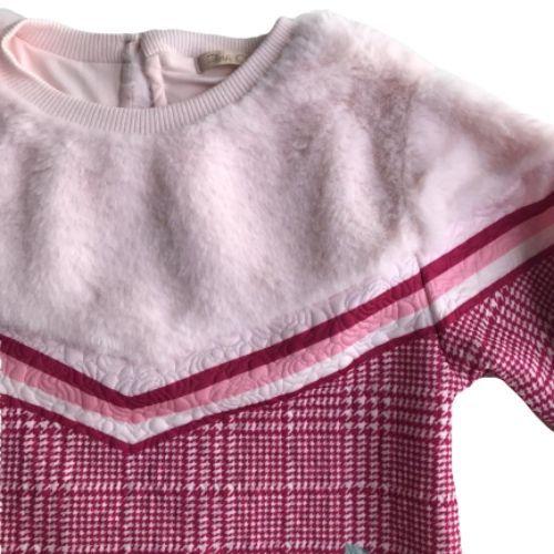 Conjunto Feminino Infantil Blusa e Legging Xadrez com Rosas