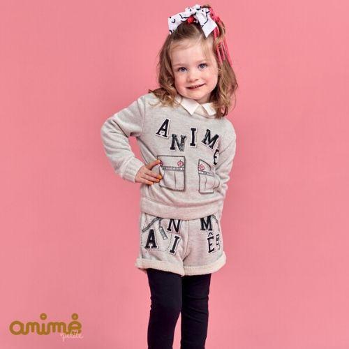 Conjunto Feminino Infantil Blusa e Shorts Cinza Animê