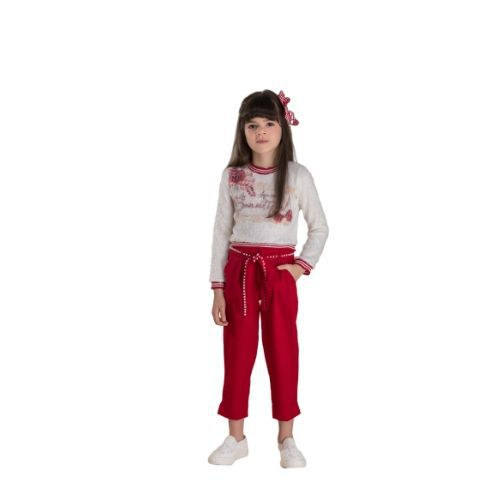 Conjunto Feminino Infantil Blusa Fluffy e Calça Vermelha