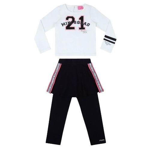 Conjunto Feminino Infantil Blusa Mini Squad e Legging Saia