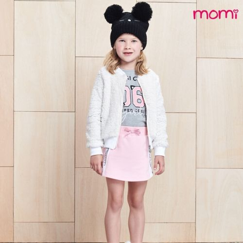 Conjunto Feminino Infantil Blusa Momi Cats com Shorts Saia Momi