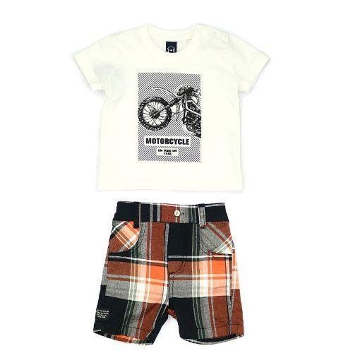 Conjunto Masculino Infantil  Blusa Motocicleta com Short Xadrez