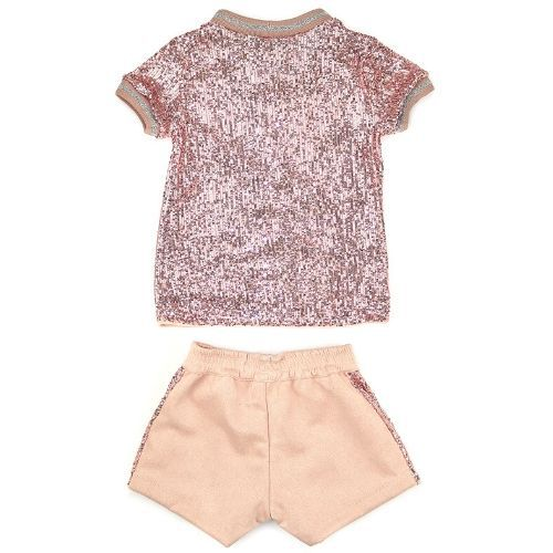 Conjunto Feminino Infantil Blusa Paetê com Shorts Rosa