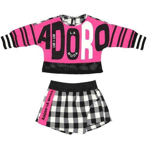 Conjunto Feminino Infantil Blusa Pink Adoro com Shorts Saia Xadrez