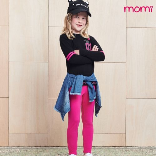 Conjunto Feminino Infantil Blusa Preta Girls Squad com Legging Pink