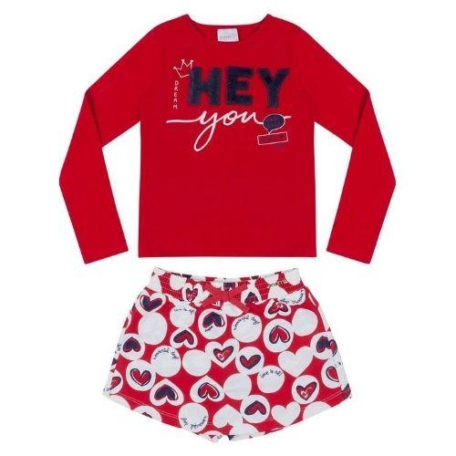 Conjunto Feminino Infantil Blusa Vermelha Hey Shorts Saia Corações
