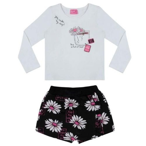 Conjunto Feminino Infantil Bolso com Flores e Shorts Saia Margaridas