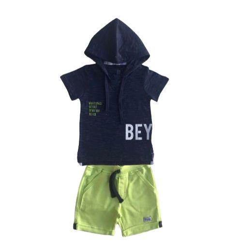 Conjunto Masculino Infantil Camiseta com Capuz e Bermuda Neon