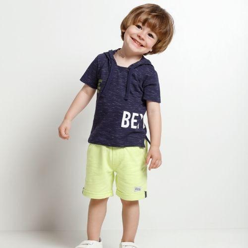 Conjunto Masculina Infantil Camiseta com Capuz e Bermuda Neon