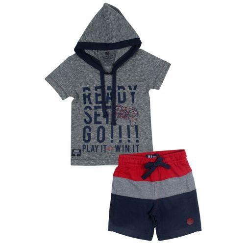 Conjunto Masculino Infantil Camiseta com Capuz e Short Listrado
