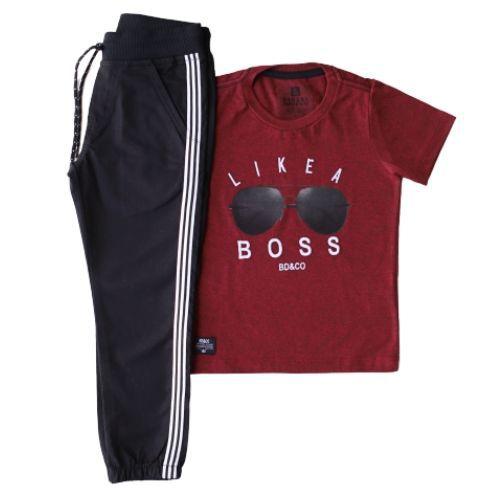 Conjunto Masculino Infantil Camiseta Like a Boss com Calça