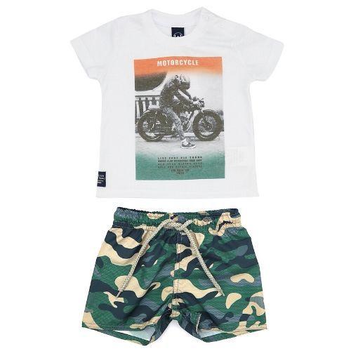 Conjunto Masculino Infantil Camiseta Motociclista com Bermuda Camuflada