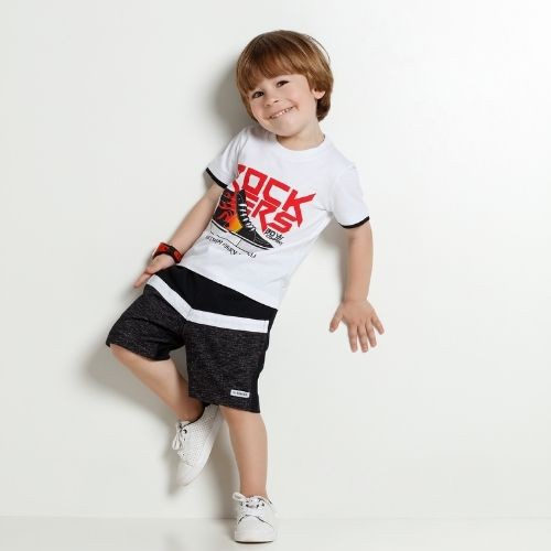 Conjunto Masculino Infantil Camiseta Rockers com Bermuda