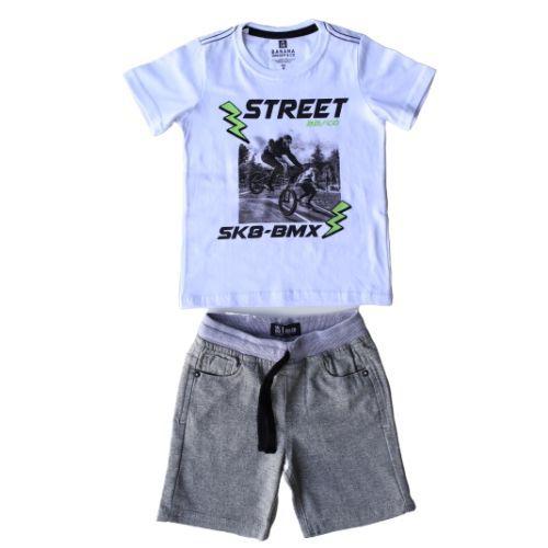 Conjunto Masculino Infantil Camiseta Street com Bermuda