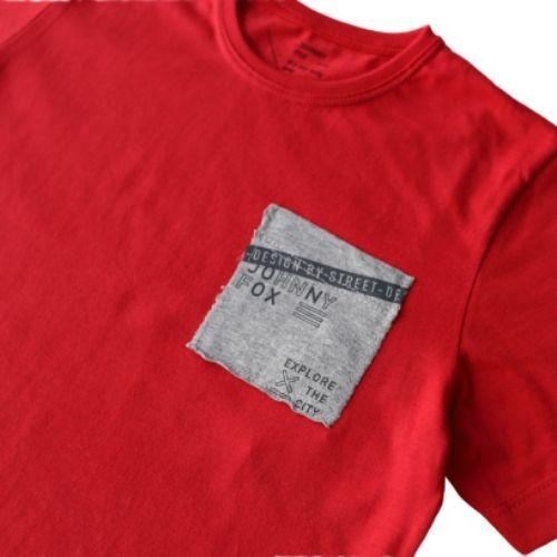 Conjunto Masculino Infantil Camiseta Vermelha com Bolso e Bermuda