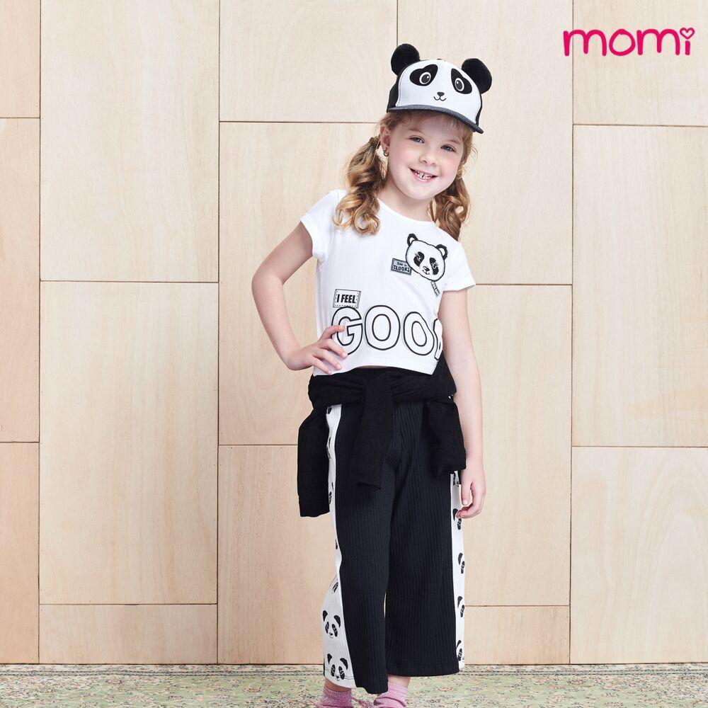 Conjunto Feminino Infantil Cropped Panda com Pantacourt Preta