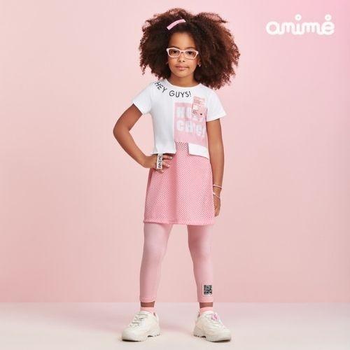 Conjunto Infantil Feminino Blusa Alongada com Legging Animê