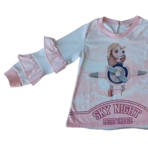 Conjunto Infantil Feminino Blusa Babadinhos e Calça Cachorrinhos Petit Cherie