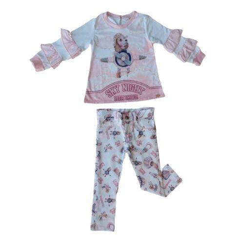 Conjunto Infantil Feminino Blusa Babadinhos e Calça Cachorrinhos