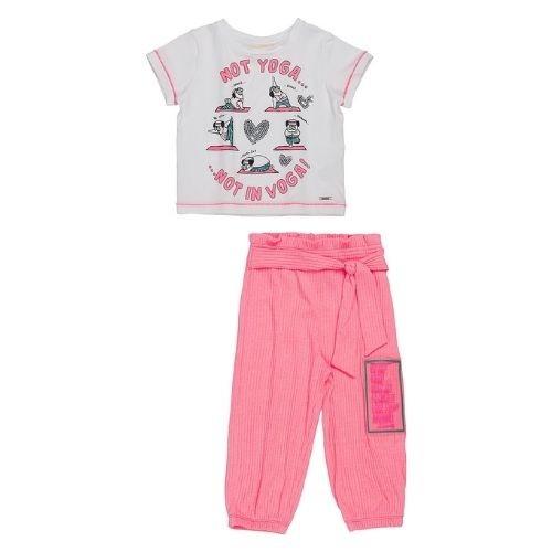 Conjunto Infantil Feminino Blusa Branca e Calça Rosa Neon
