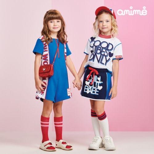 Conjunto Infantil Feminino Blusa Branca e Short Saia Azul