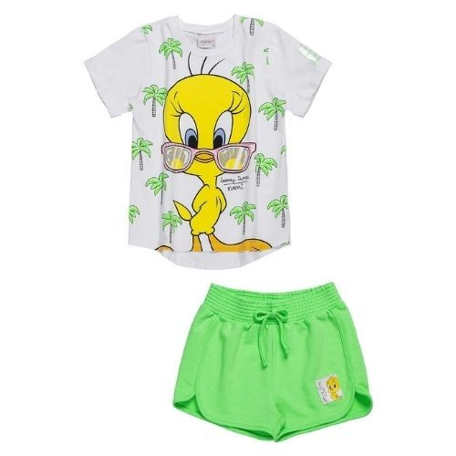 Conjunto Infantil Feminino Blusa Branca Piu Piu  e Short Verde Neon