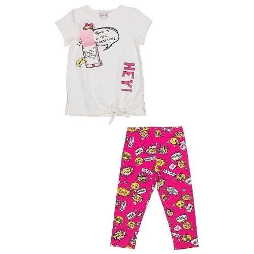 Conjunto Infantil Feminino Blusa Celular Bermuda Ciclista Emojis