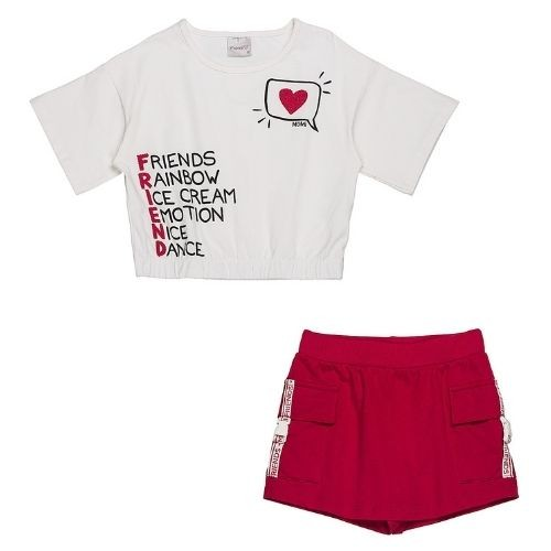 Conjunto Infantil Feminino Blusa com Short Saia Vermelho