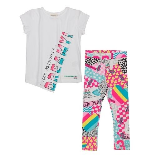 Conjunto Infantil Feminino Blusa Dreamy com Legging Colorida