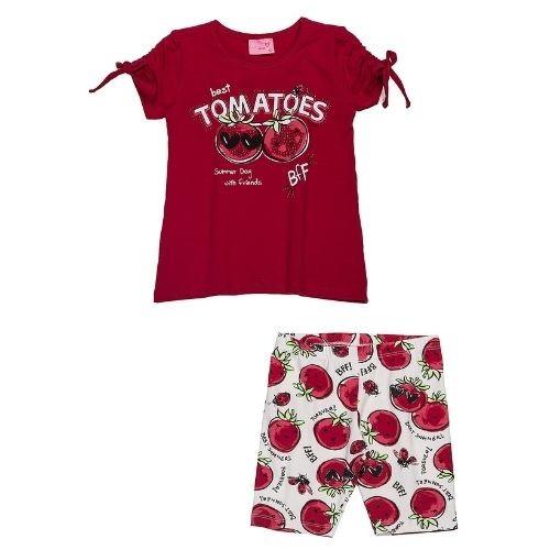 Conjunto Infantil Feminino Blusa e Bermuda Ciclista Tomates