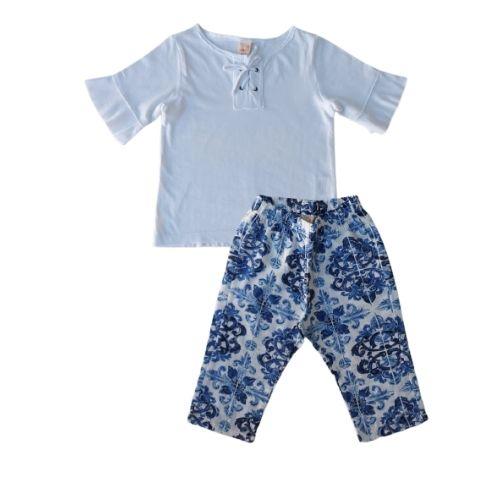 Conjunto Infantil Feminino Blusa e Calça Estampada Green By Missako