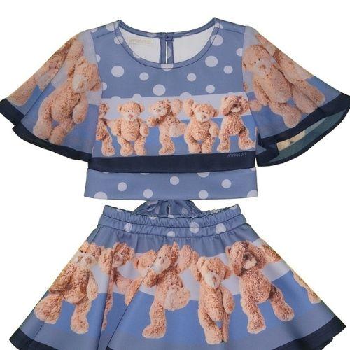 Conjunto Infantil Feminino Blusa e Saia de Ursinhos