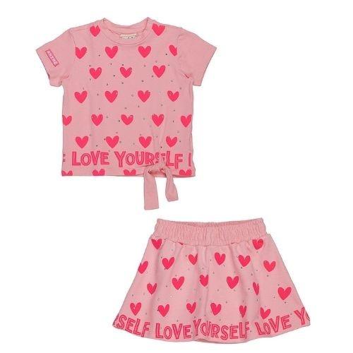 Conjunto Infantil Feminino Blusa e Saia Rosa Corações
