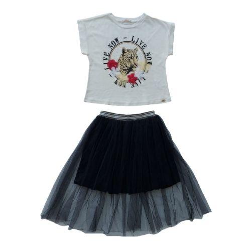 Conjunto Infantil Feminino Blusa e Saia Tule