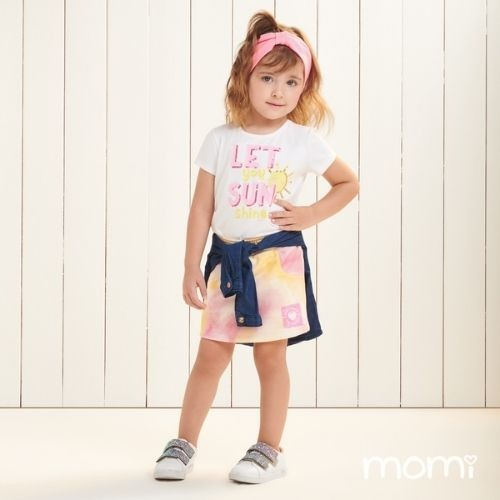 Conjunto Infantil Feminino Blusa e Short Saia Tie Dye